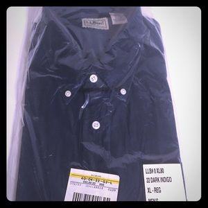 Men's L.L. Bean dark indigo button down shirt, XL